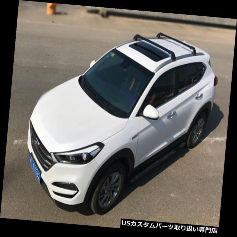 キャリア ロックできるブラックブラックルーフレールラッククロスバーフィットヒュンダイTUCSON 2016-2018 Lockable Black Black Roof Rails Rack Crossbar Fit Hyundai TUCSON 2016-2018