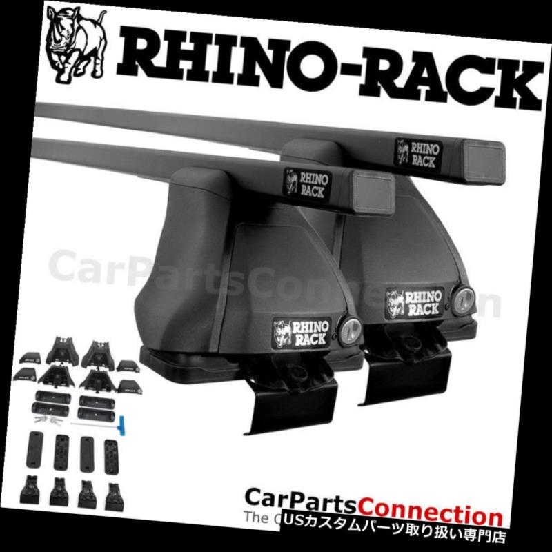 キャリア KIAリオセダン06-11用RhinoラックJB0479ユーロ2500ブラックルーフクロスバーキット Rhino-Rack JB0479 Euro 2500 Black Roof Crossbar Kit For KIA Rio Sedan 06-11
