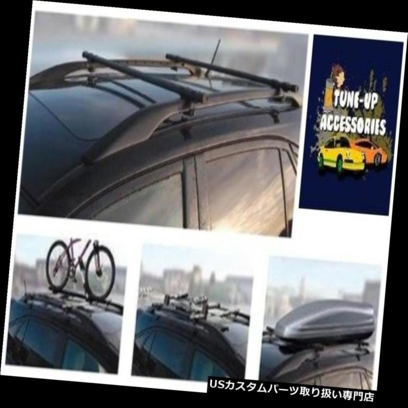 キャリア 頑丈な黒い鋼鉄ポリ塩化ビニールの上塗を施してある十字の屋根棒柵の棚セットの組 Heavy Duty Black Steel PVC Coated Cross Roof Bar Rails Rack Set Pair