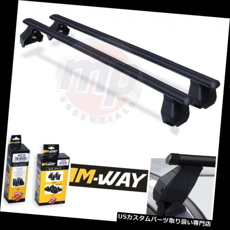 キャリア Mウェイペアブラックスチールルーフラックレールクロスバーフィアットマレア(05-12)+キット06 M-Way Pair Black Steel Roof Rack Rail Cross Bars for Fiat Marea (05-12) + Kit 06