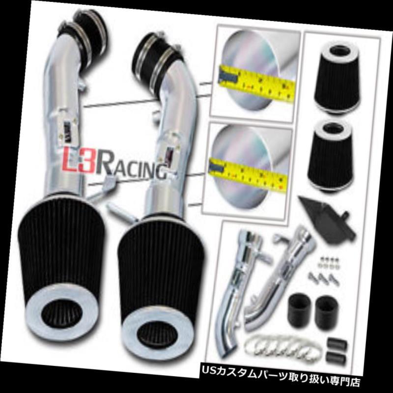 エアインテーク インナーダクト 黒い熱盾の空気取り入れ口+ 08-13 G37 3.7L V6のための二重乾燥したフィルター BLACK Heat Shield Air Intake + Dual Dry Filter For 08-13 G37 3.7L V6