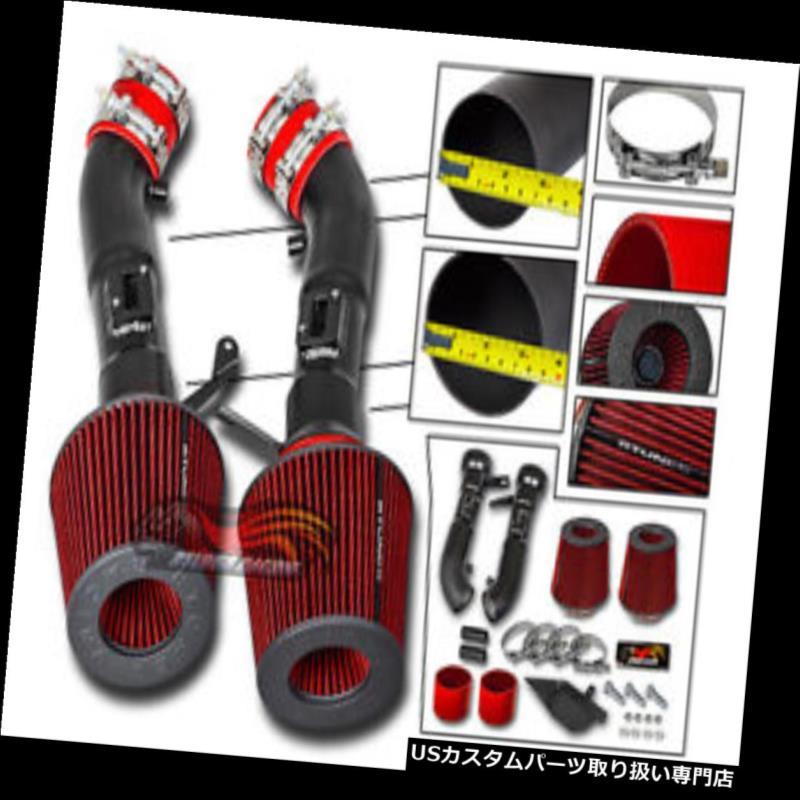 エアインテーク インナーダクト マットブラックコールドヒートシールドエアインテークキット+ 08-13 G37 3.7L V6用REDフィルター MATT BLACK Cold Heat Shield Air Intake Kit + RED Filter For 08-13 G37 3.7L V6