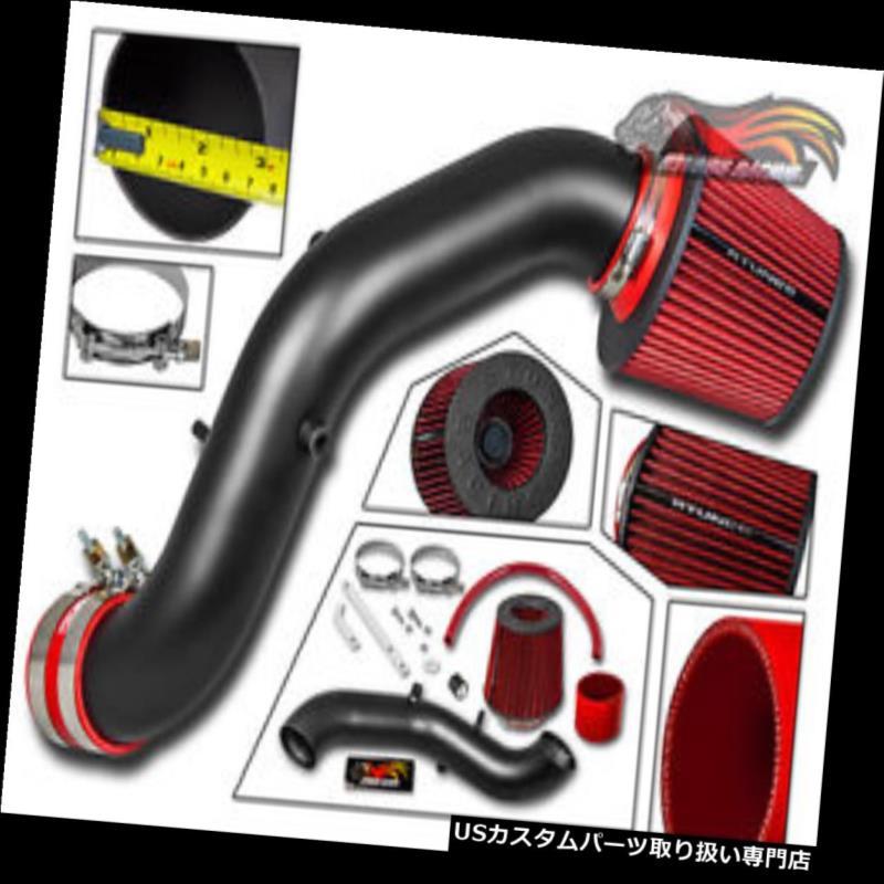 エアインテーク インナーダクト ホンダ02-05シビックSi iVtec 2.0L用マットブラックRAMエアインテーク+レッドフィルター MATTE BLACK RAM AIR INTAKE + RED FILTER FOR HONDA 02-05 Civic Si iVtec 2.0L