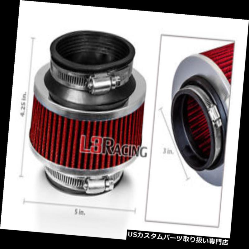 """RED 3.0 Inches 3.0/"""" Inlet 76mm Cold Air Intake Cone Dry Filter For FORD"""