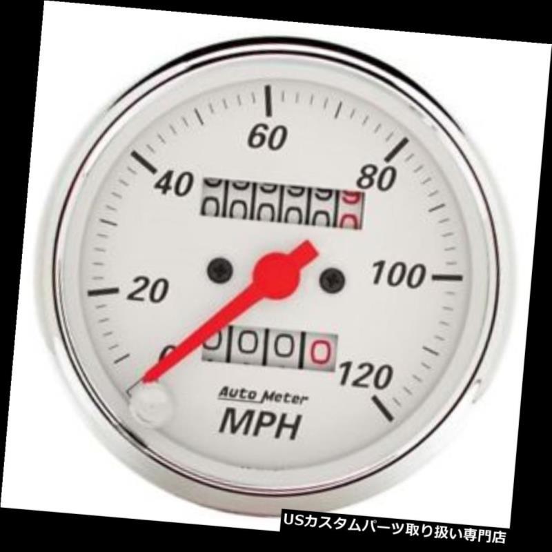 USタコメーター オートメーター1396北極ホワイトメカニカルスピードメーターゲージ Auto Meter 1396 Arctic White Mechanical Speedometer Gauge