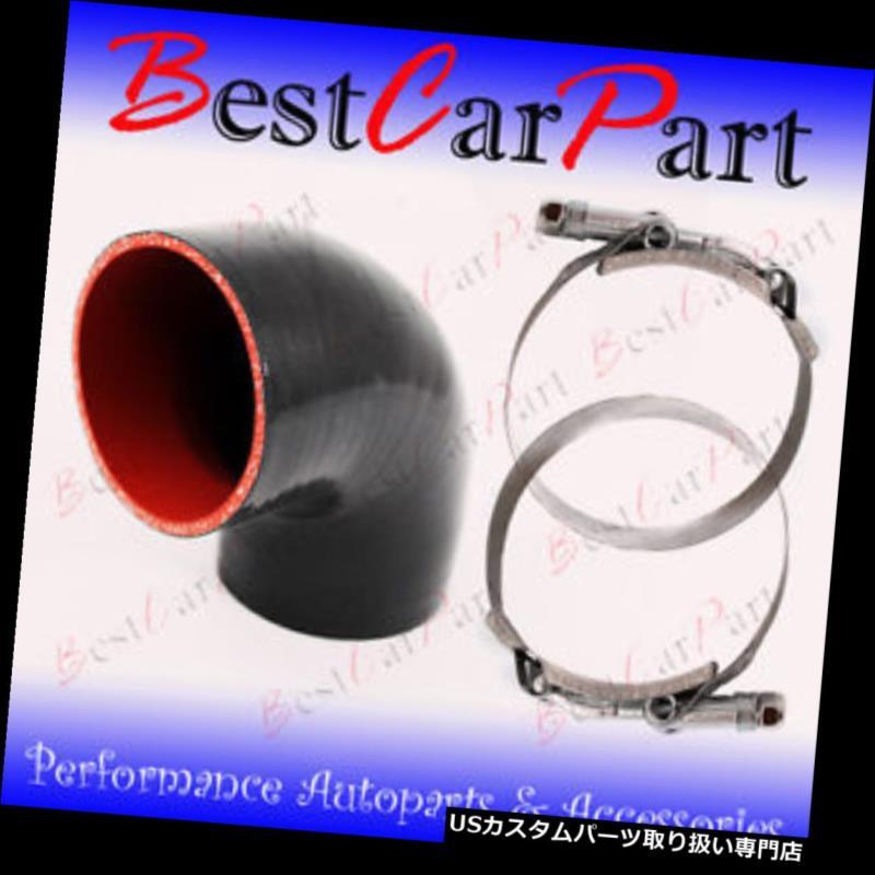 USエアインテーク インナーダクト ブラックシリコンエルボーカプラーホース4プライ2.5インチ63 mmターボエアインテークインタークーラー BLACK Silicone Elbow Coupler Hose 4 Ply 2.5