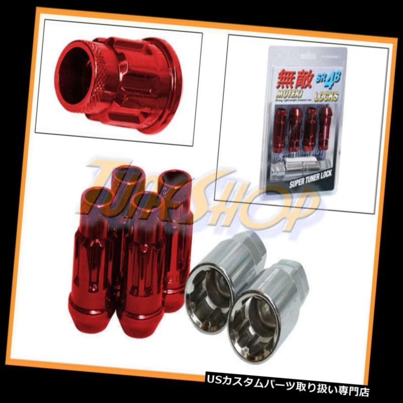 USナット MUTEKI SR48 4ホイールロックナッツセット12X1.5 1.5 ACORN RIMSオープンエンドレッドU MUTEKI SR48 4 WHEELS LOCK LUG NUTS SET 12X1.5 1.5 ACORN RIMS OPEN END RED U