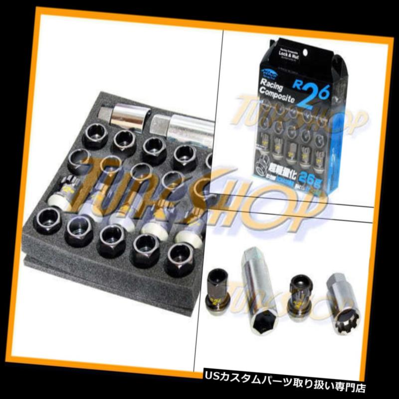 USナット KICS R26ブラックロックラグナット12x1.25 1.25フローティングシートドングリムホイールリムオープンS KICS R26 BLACK LOCK LUG NUTS 12x1.25 1.25 FLOATING SEAT ACORN WHEELS RIMS OPEN S