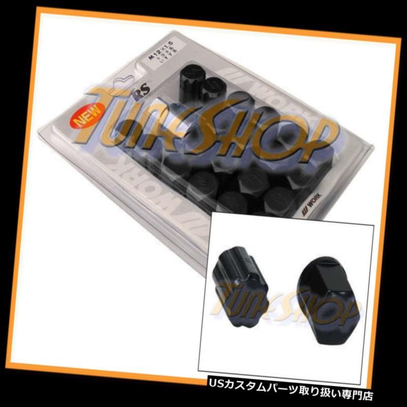 USナット ワークレーシングRSタイプ鍛造アルミロックラグナット12X1.5 M12 1.5ブラック20 PCS L WORK RACING RS TYPE FORGED ALUMINUM LOCK LUG NUTS 12X1.5 M12 1.5 BLACK 20 PCS L