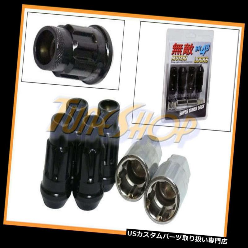USナット MUTEKI SR48 4ホイールロックラッグナッツセット12X1.5 1.5 ACORNリムオープンエンドブラックU MUTEKI SR48 4 WHEELS LOCK LUG NUTS SET 12X1.5 1.5 ACORN RIMS OPEN END BLACK U