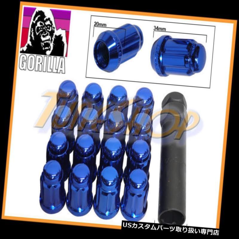 USナット 16ゴリラスプラインチューナーロックラグナット12X1.5 1.5 ACORNホイールリムブルークローズH 16 GORILLA SPLINE TUNER LOCK LUG NUT 12X1.5 1.5 ACORN WHEELS RIMS BLUE CLOSE H