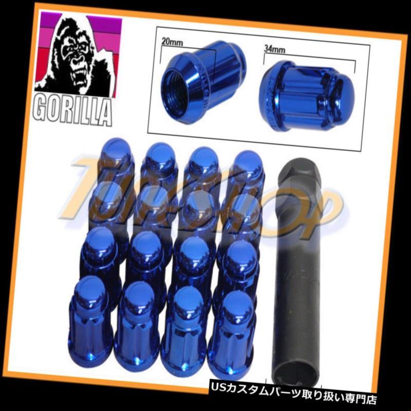USナット 16ゴリラスプラインチューナーロックラグナット12X1.5 1.5 ACORNホイールリムブルークローズM 16 GORILLA SPLINE TUNER LOCK LUG NUT 12X1.5 1.5 ACORN WHEELS RIMS BLUE CLOSE M