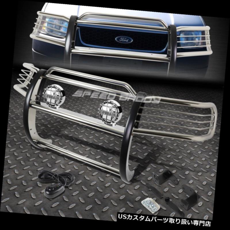 USグリルガード 01-04フォードエスケープCD2 SUVのためのクロムブラッシュグリルガード+ラウンドクリアフォグライト CHROME BRUSH GRILL GUARD+ROUND CLEAR FOG LIGHT FOR 01-04 FORD ESCAPE CD2 SUV