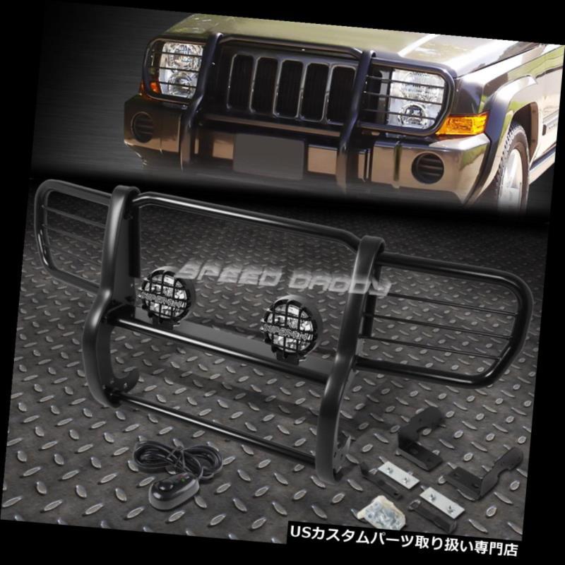06-10ジープコマンダーXK BLACK 06-10 FOR USグリルガード FOG XK BRUSH COMMANDER GRILLE JEEP LIGHT GUARD+ROUND CLEAR SUVのためのブラックブラシグリルガード+ラウンドクリアフォッグライト SUV