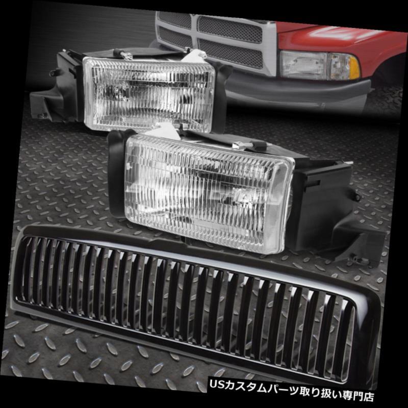 USグリルガード クロムハウジングOEスタイルヘッドライト+ BLAC  94-02ドッジ用Kバンパーグリルガード CHROME HOUSING OE STYLE HEADLIGHT+BLACK BUMPER GRILLE GUARD FOR 94-02 DODGE RAM