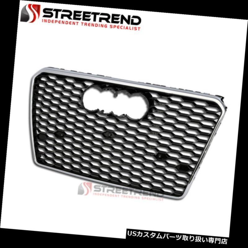 グリルガード 12-14用アウディa7 c7 blk /クロームrsハニカムメッシュフロントフードバンパーグリルグリル For 12-14 Audi A7 C7 Blk/Chrome RS Honeycomb Mesh Front Hood Bumper Grill Grille