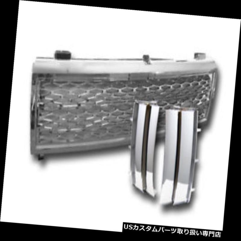 グリルガード 03-05レンジローバークロームメッシュフロントグリル+サイドフェンダーベントクロームシルバーV2 For 03-05 Range Rover Chrome Mesh Front Grille+Side Fender Vent Chrome Silver V2