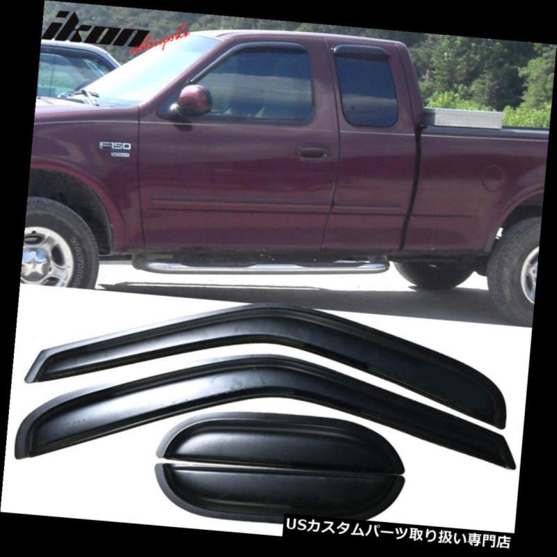 ベントバイザー ドアバイザー レインガード 97-03 Ford F150 F250拡張キャブアクリルウィンドウバイザー4本セット Fits 97-03 Ford F150 F250 Extended Cab Acrylic Window Visors 4Pc Set