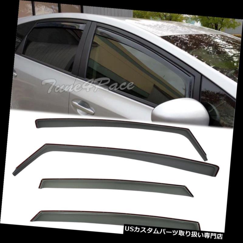 ベントバイザー ドアバイザー レインガード 11アップトヨタプリウスVサイドウィンドウバイザーレインガードインチャンネルデフレクター For 11-Up Toyota Prius V Side Window Visors Rain Guards In-Channel Deflectors