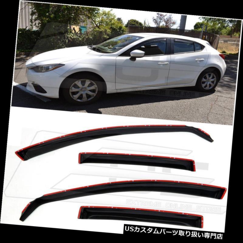 ベントバイザー ドアバイザー レインガード Mazda 3 2014-2018年の煙のためのチャネルのサイドウィンドウのバイザーの雨のデフレクタのEOS EOS In Channel Side Window Visors Rain Deflectors For Mazda 3 2014-2018 Smoke