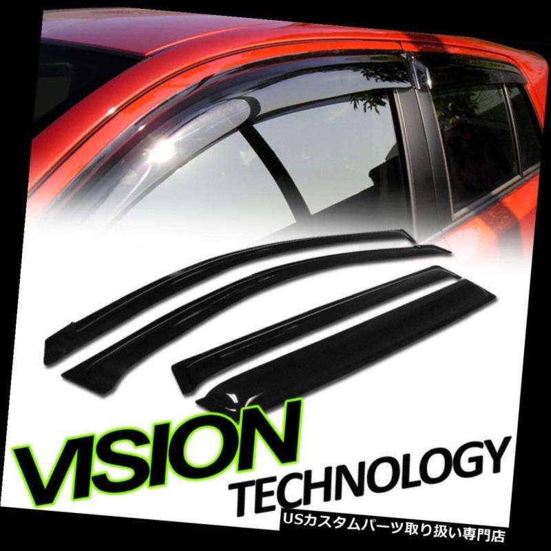 ベントバイザー ドアバイザー レインガード 06-12トヨタRav4のためのJdm雨/ウィンドガードの出口の陰のディフレクター窓のバイザー4pc Jdm Rain/Wind Guard Vent Shade Deflector Window Visors 4pc For 06-12 Toyota Rav4