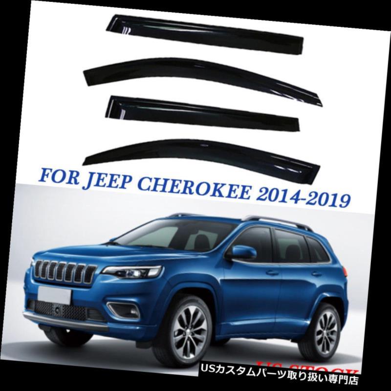 ベントバイザー ドアバイザー レインガード 交換用デフレクターウィンドウベントバイザーフィット2014-2019ジープチェロキーアウトチャネル Replacement Deflector Window Vent Visor Fit 2014-2019 Jeep Cherokee Out-channel