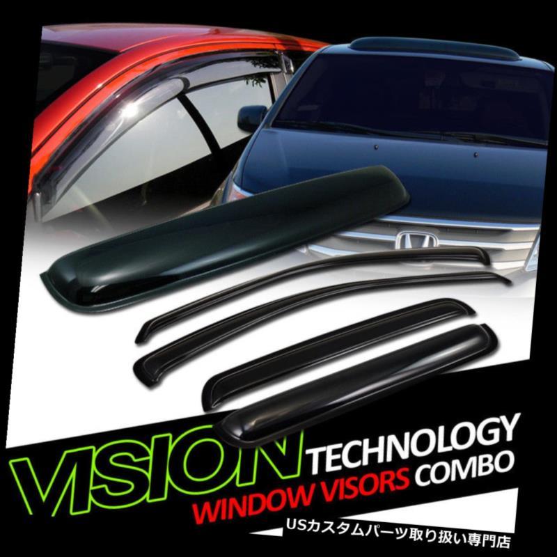 ベントバイザー ドアバイザー レインガード ムーンルーフルーフデフレクター99-04グランドチェロキー付きサンレインウィンドベントウィンドウバイザー Sun Rain Wind Vent Window Visors w/Moonroof Roof Deflector 99-04 Grand Cherokee