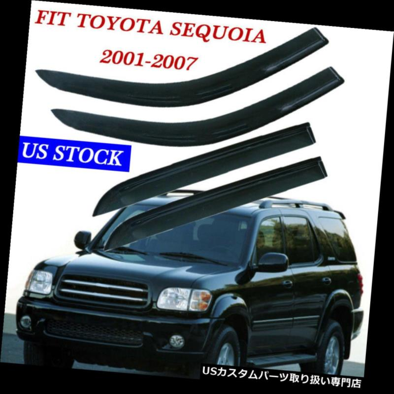 ベントバイザー ドアバイザー レインガード 2001-2007トヨタセコイア4pcウィンドウベントガードバイザーのチャンネル外テープオン For 2001-2007 Toyota Sequoia 4pc Window Vent Guard Visors Out of Channel Tape-On