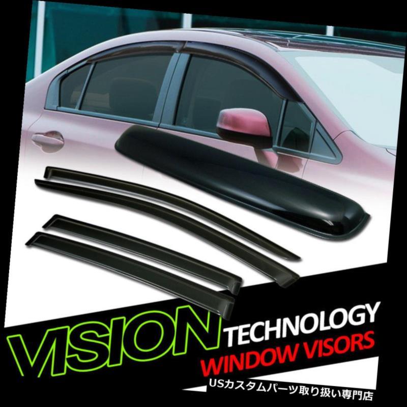 ベントバイザー ドアバイザー レインガード サンレインウィンドウィンドウバイザー+ Moonroo  fルーフデフレクター(セブリング/ 07?14/14?200) Sun Rain Wind Window Visors+Moonroof Roof Deflector For 07-14 Sebring/200 Sedan