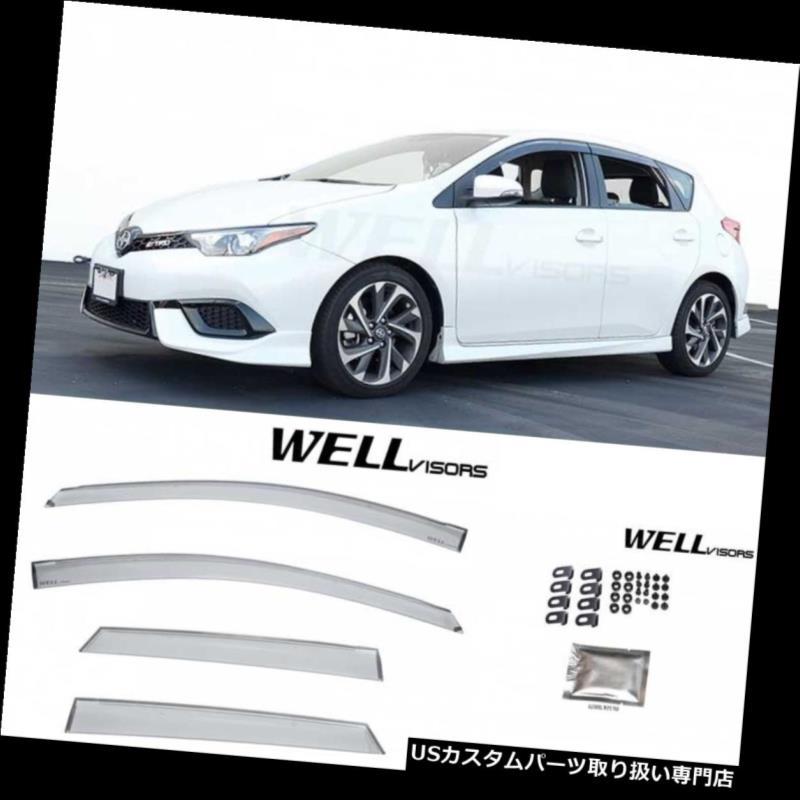ベントバイザー ドアバイザー レインガード Corolla iM / Scion iM 16-18クリップ用ウェリバイザーレインウィンドベントバイザープレミアム WELLvisors For Corolla iM/Scion iM 16-18 Clip on Rain Wind Vent Visors Premium