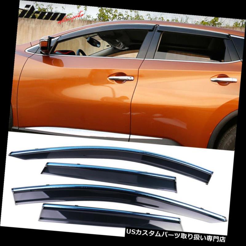 ベントバイザー ドアバイザー レインガード 15-18日産ムラーノポリカーボネートウィンドウバイザーw /クロムトリム4個入り Fits 15-18 Nissan Murano Polycarbonate Window Visors w/ Chrome Trim 4Pc Set