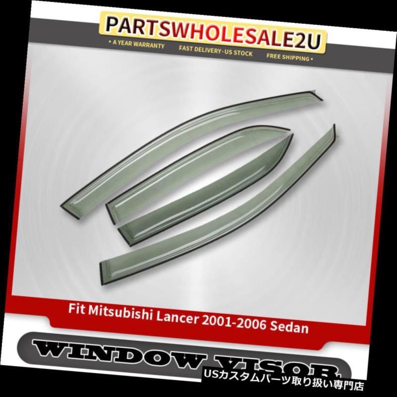 ベントバイザー ドアバイザー レインガード 三菱ランサー2001年2002年4月のための4倍の窓のバイザーの通気孔防護シールド2002-2003 4x Window Visors Vent Rain Guards Shield for Mitsubishi Lancer 2001 2002 03-2006