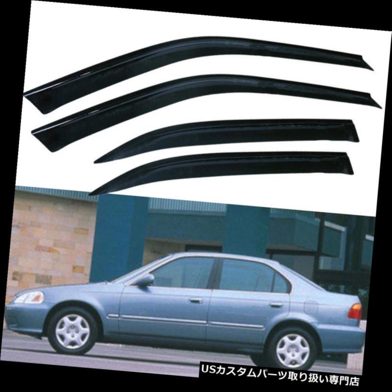 ベントバイザー ドアバイザー レインガード 1996-2000シビックスリムスタイルウィンドウレインガードバイザー4アウトドアセダンホンダ4本 For 1996-2000 Civic Slim Style Window Rain Guard Visors 4doors Sedan Honda 4pcs
