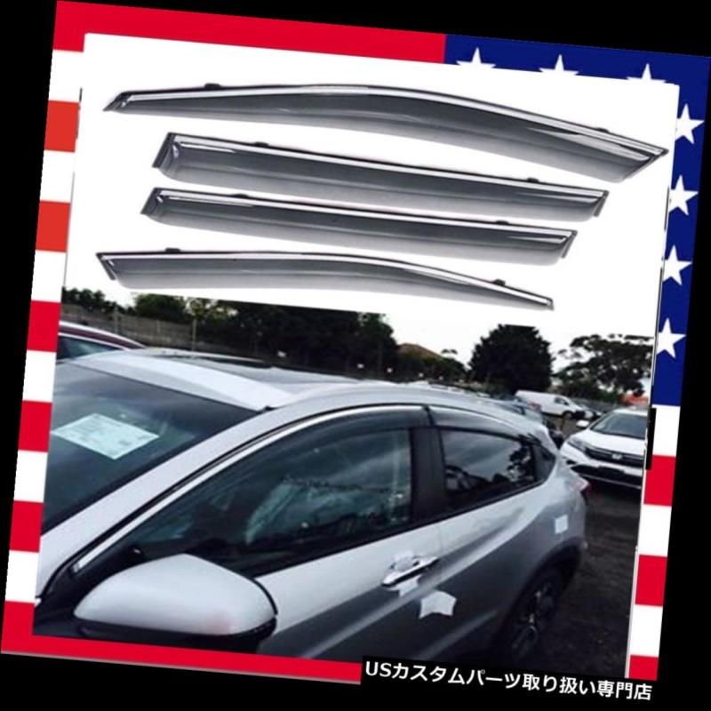 ベントバイザー ドアバイザー レインガード OEスタイルウィンドウベントバイザーサンレインウィンドデフレクタフィットホンダHRV HR-V 2016 17 OE Style Window Vent Visors Sun Rain Wind Deflectors Fit Honda HRV HR-V 2016 17