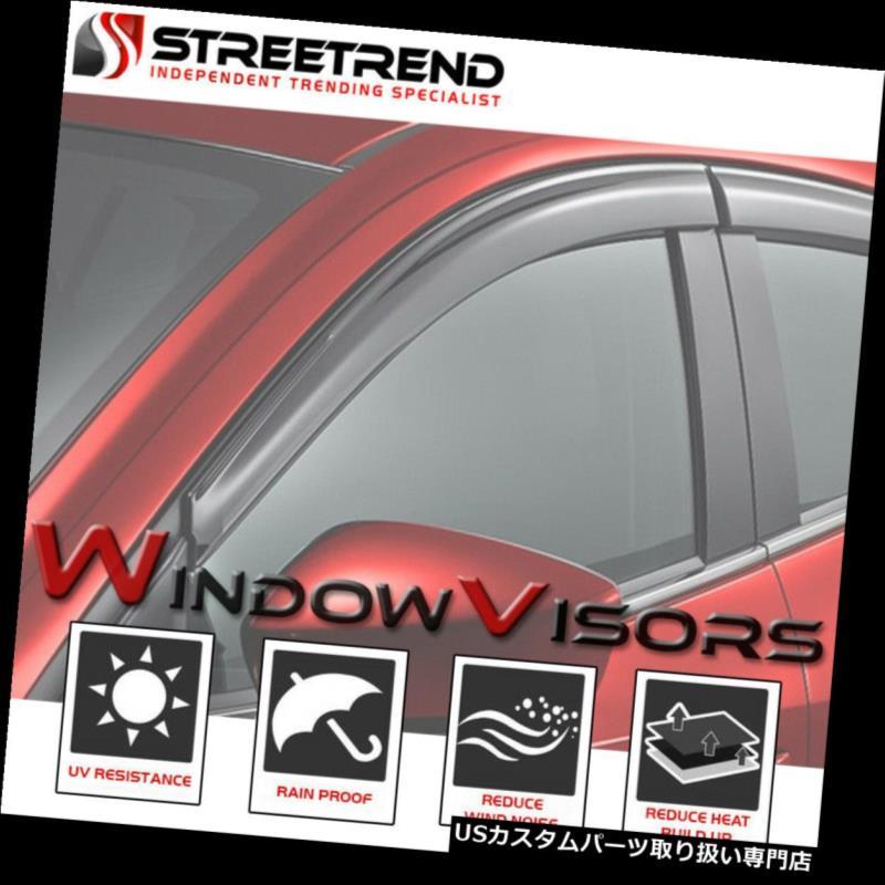 ベントバイザー ドアバイザー レインガード サン/レイン/ウィンドガードベントシェードデフレクターウィンドウバイザー4個06-10ジープコマンダー Sun/Rain/Wind Guard Vent Shade Deflector Window Visors 4Pcs 06-10 Jeep Commander