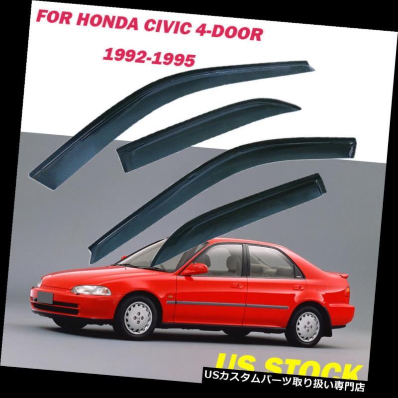 ベントバイザー ドアバイザー レインガード Honda Civic 92 93 94 1995サイドセットドアウィンドウバイザーレインガード交換 Fit Honda Civic 92 93 94 1995 Side Set Door Window Visors Rain Guard Replacement