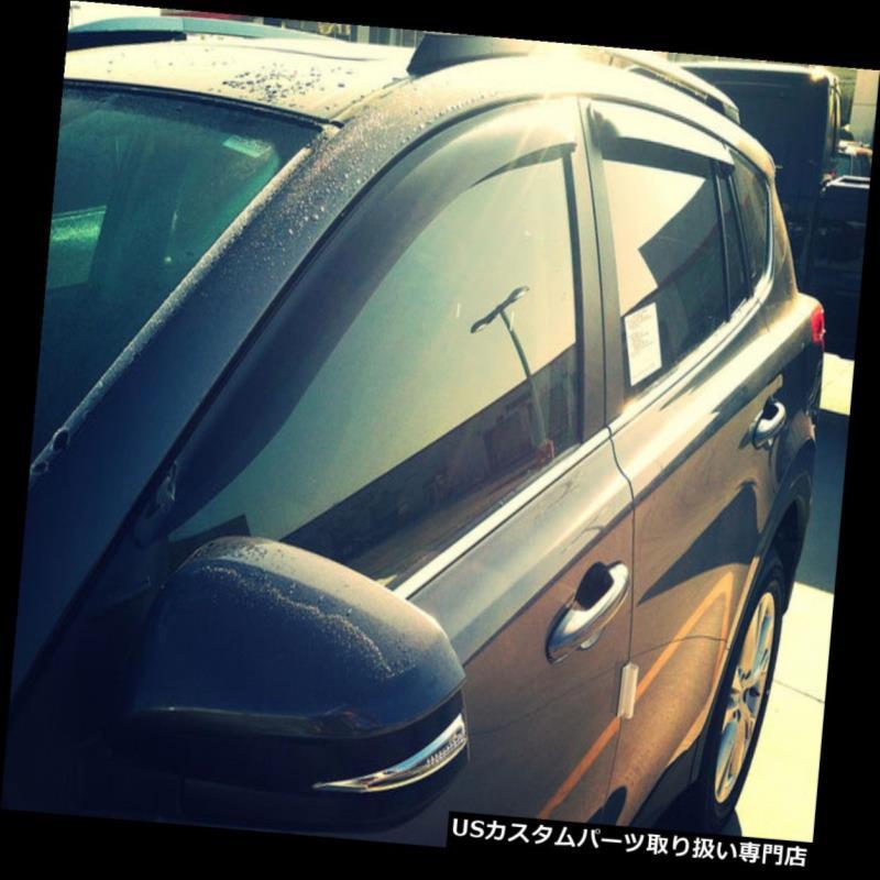 ベントバイザー ドアバイザー レインガード シボレークルーズ2011 - 2015テープオンウィンドデフレクタ(4個)スモークベントバイザーシェード Chevy Cruze 2011 - 2015 Tape-on Wind Deflectors (4 pc) Smoke Vent Visor Shade