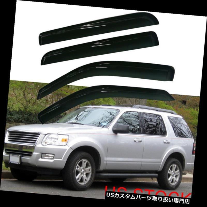 ベントバイザー ドアバイザー レインガード 02-10フォードエクスプローラーマーキュリーウィンドウシェードバイザーレインガードスモークティンテッド For 02-10 Ford Explorer Mercury Window Shade Visors Rain Guards Smoke Tinted