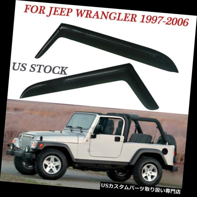 ベントバイザー ドアバイザー レインガード 2PC /セットウィンドウバイザーシェードレインガード97-06ジープラングラーのための耐久性のあるデザイン 2PC/Set Window Visor Shade Rain Guards Durable Design For 97-06 Jeep Wrangler US