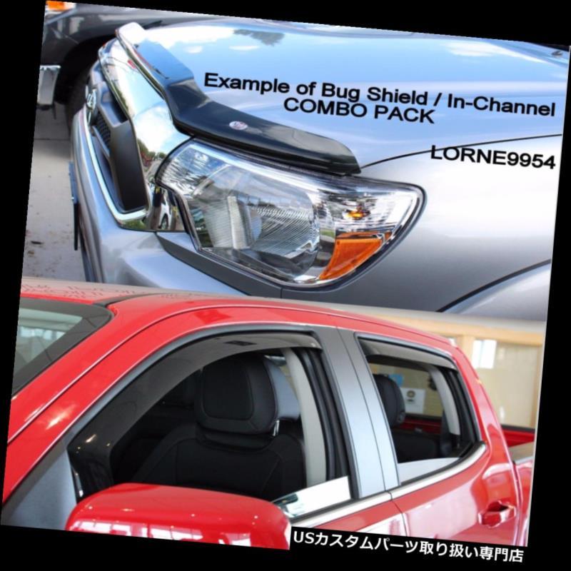 ベントバイザー ドアバイザー レインガード インチャネルベントバイザーと 2014年のバグシールド - 2018年GMCシエラHDクルーキャブ In-Channel Vent Visors & Bug Shield for 2014 - 2018 GMC Sierra HD Crew Cab