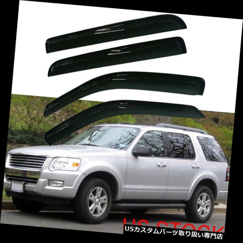 ベントバイザー ドアバイザー レインガード マーキュリー登山家2002年-2010年4ドアSUVのための4X窓口バイザーサンレインガード 4X Window Vent Visor Sun Rain Guard For Mercury Mountaineer 2002-2010 4-Door SUV