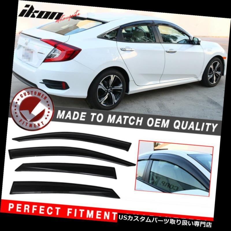 ベントバイザー ドアバイザー レインガード 16-18の本田の市民のセダンのアクリルの窓のバイザー4Pcセットに合います Fits 16-18 Honda Civic Sedan Acrylic Window Visors 4Pc Set