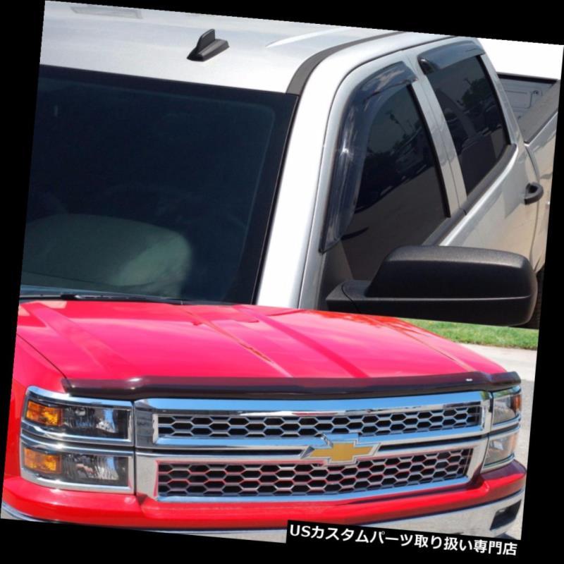 ベントバイザー ドアバイザー レインガード ベントバイザーにテープを付ける 2014 - 2015シボレーシルバラード1500ダブルキャブ用のバグシールド Tape on Vent Visors & Bug Shield for 2014 - 2015 Chevy Silverado 1500 Double Cab