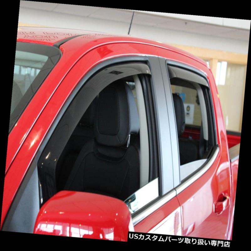 ベントバイザー ドアバイザー レインガード Dodge Ram Crew Cab 2009 - 2018年ベントバイザー用チャンネル風ディフレクター4個入り In Channel Wind Deflectors 4 pc for Dodge Ram Crew Cab 2009 - 2018 Vent Visors