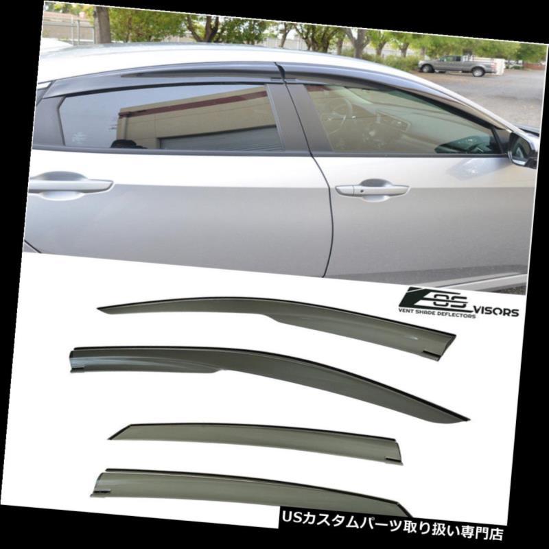 ベントバイザー ドアバイザー レインガード 16-Up Honda Civic 4Dr Sedan FC1用テープオンスモークティンテッドサイドウィンドウバイザー Tape-On Smoke Tinted Side Window Visors For 16-Up Honda Civic 4Dr Sedan FC1