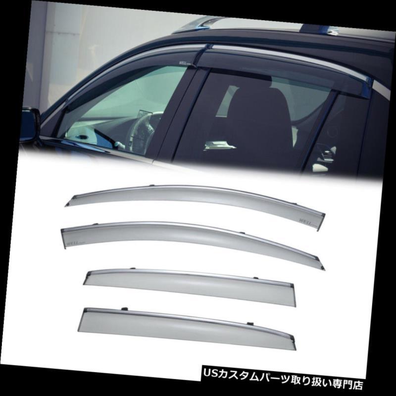 ベントバイザー ドアバイザー レインガード Acura RDX 13-18クロームトリム用[クリップON]サイドウィンドウベントバイザーレインガードセット For Acura RDX 13-18 Chrome Trim[Clip ON]Side Window Vent Visor Rain Guard Set
