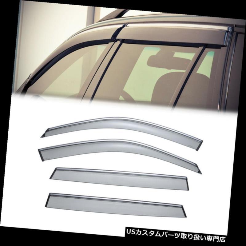 ベントバイザー ドアバイザー レインガード BMW E70 F15 X5 2007-2017クロームトリムサイドウィンドウベントバイザーレインガード4PC用 For BMW E70 F15 X5 2007-2017 Chrome Trim Side Window Vent Visor Rain Guard 4PC