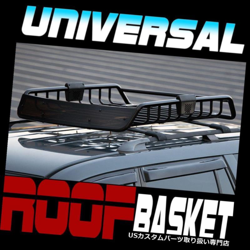 カーゴ ルーフ キャリア ブラックルーフラックレールスチールバスケットカーゴバッグユーティリティギアキットw /エアデフレクターS18 Black Roof Rack Rail Steel Basket Cargo Bag Utility Gear Kit w/Air Deflector S18