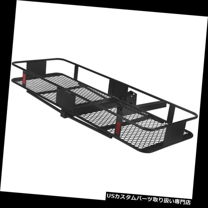 カーゴ ルーフ キャリア 黒折りたたみ荷物貨物バスケットキャリアトラックSUVトレーラーレシーバーヒッチラック Black Folding Luggage Cargo Basket Carrier Truck SUV Trailer Receiver Hitch Rack