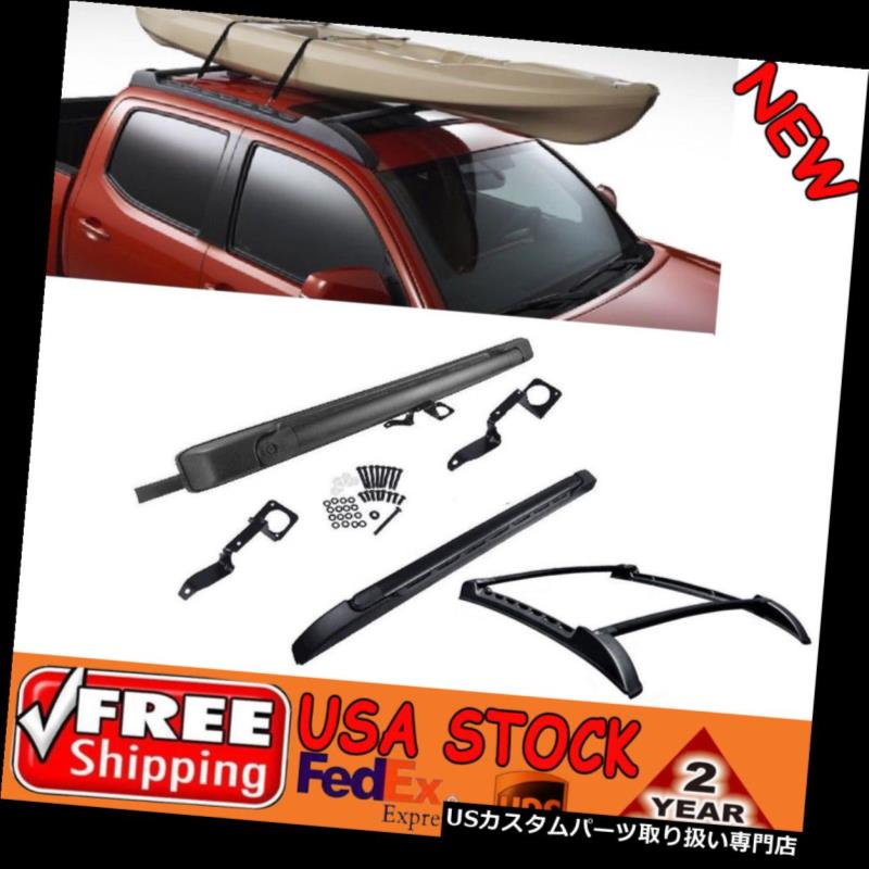 カーゴ ルーフ キャリア 09-18トヨタタコマダブルCAB用ブラックストーウェイルーフレールクロスバーラックキット Black Stowaway Roof Rail Crossbars Rack Kits for 09-18 Toyota Tacoma Double CAB